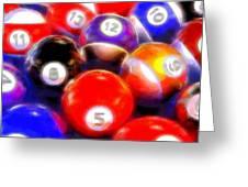 Billiard Balls On The Table Greeting Card