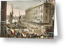 Billingsgate Fish Market, 1808 Greeting Card