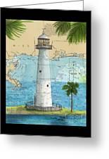 Biloxi Lighthouse Ms Nautical Chart Art Cathy Peek Greeting Card
