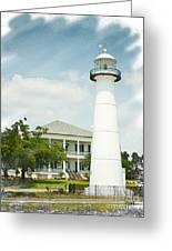 Biloxi Lighthouse Sketch Photo Greeting Card