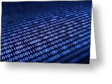 Binary Code On Pixellated Screen Greeting Card