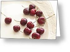 Bing Cherries And White Plate Greeting Card