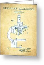 Binocular Microscope Patent Drawing From 1931 - Vintage Paper Greeting Card
