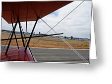 Biplane Taxying Back To Tie Down Greeting Card