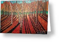 Birch Trees At Dusk Greeting Card