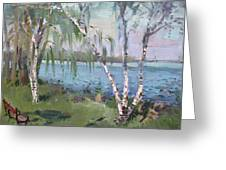Birch Trees By The River Greeting Card