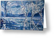 Birches In Blue Greeting Card