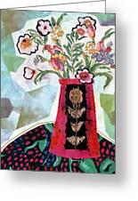 Bird Blossom Vase Greeting Card by Diane Fine