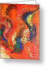 Bird Of Paradise Orange Red Modern Abstract By Chakramoon Greeting Card
