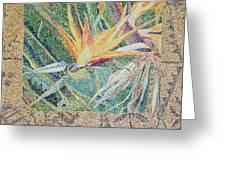 Bird Of Paradise With Tapa Cloth Greeting Card