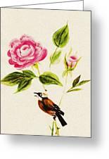 Bird On A Flower Greeting Card