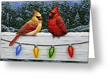 Bird Painting - Christmas Cardinals Greeting Card by Crista Forest