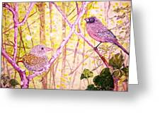 Bird Pair Greeting Card by Linda Vaughon