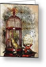 Birdcage Brass Bird And Carved Stone  Greeting Card