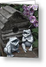 Birdhouse With Frogs Greeting Card