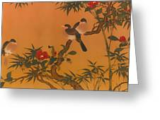 Birds Bamboo And Camellias Greeting Card