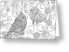 Birds Coloring Page. Animals. Hand Greeting Card