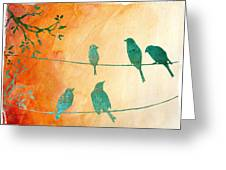 Birds Gathered On Wires-5 Greeting Card