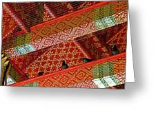 Birds In Rafters Of Royal Temple At Grand Palace Of Thailand  Greeting Card