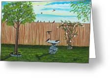 Birds In The Backyard Greeting Card