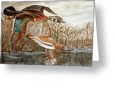 Birds Landing Greeting Card