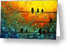Birds Of A Feather Original Whimsical Painting Greeting Card