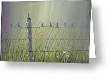 Birds On A Fence Greeting Card