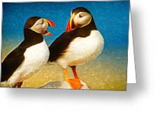 Birdy Gossip Twins Greeting Card
