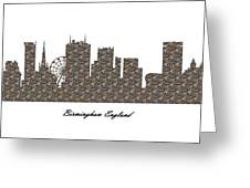 Birmingham England 3d Stone Wall Skyline Greeting Card