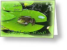 Birthday Greeting Card - Bullfrog On Lily Pad Greeting Card