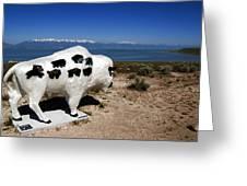 Bison Sculpture Great Salt Lake Utah Greeting Card
