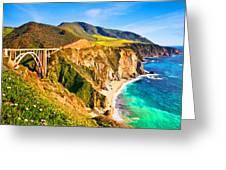 Bixby Creek Bridge Oil On Canvas Greeting Card