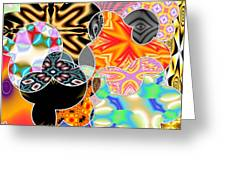Bizzarro Colorful Psychedelic Floral Abstract Greeting Card
