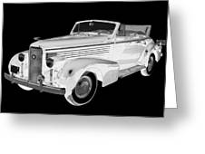 Black An White 1938 Cadillac Lasalle Pop Art Greeting Card