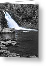 Black And Color Waterfall Greeting Card