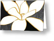 Black And Gold Magnolia- Floral Art Greeting Card