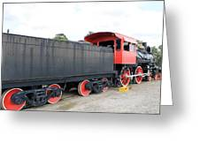 Black And Red Steam Engine Greeting Card