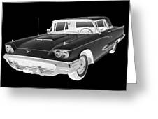 Black And White 1958  Ford Thunderbird  Car Pop Art Greeting Card