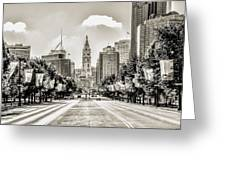 Black And White Benjamin Franklin Parkway Greeting Card
