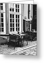 Black And White Cafe Greeting Card