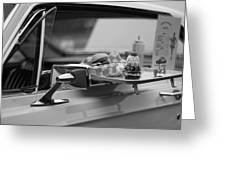 Black And White Carhop Greeting Card
