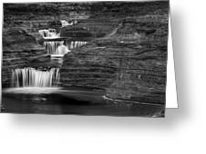 Black And White Cascade Greeting Card