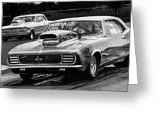 Black And White Chevy Camaro Ss Hotrod Greeting Card