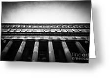 Black And White Chicago Union Station Greeting Card