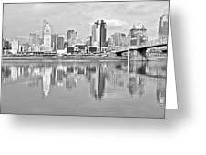 Black And White Cincinnati Panoramic Greeting Card