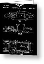 Black And White Corvette Patent Greeting Card