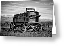 Black And White Covered Wagon Greeting Card
