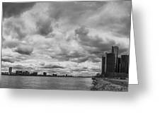 Black And White Detroit Skyline  Greeting Card