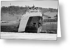 Black And White Freighter Greeting Card