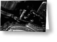 Black And White Harley Davidson Engine Parts Greeting Card